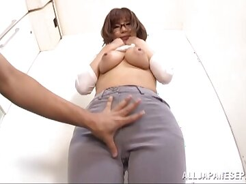 Lustful perfection with a busty Japanese enthusiastic back swallow